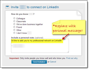 Standard, Default LinkedIn Messag