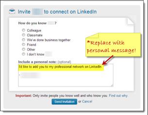 Standard, Default LinkedIn Messag