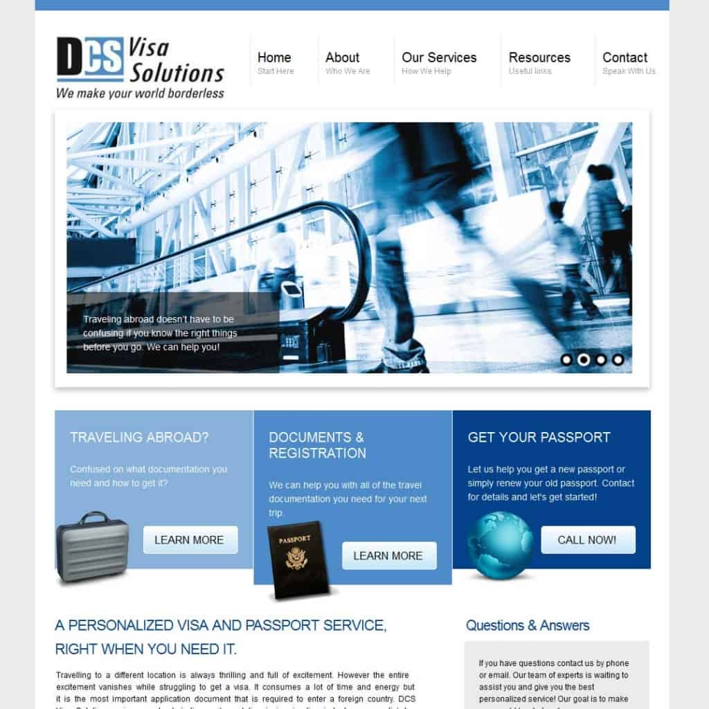 small business website Visa Solutions
