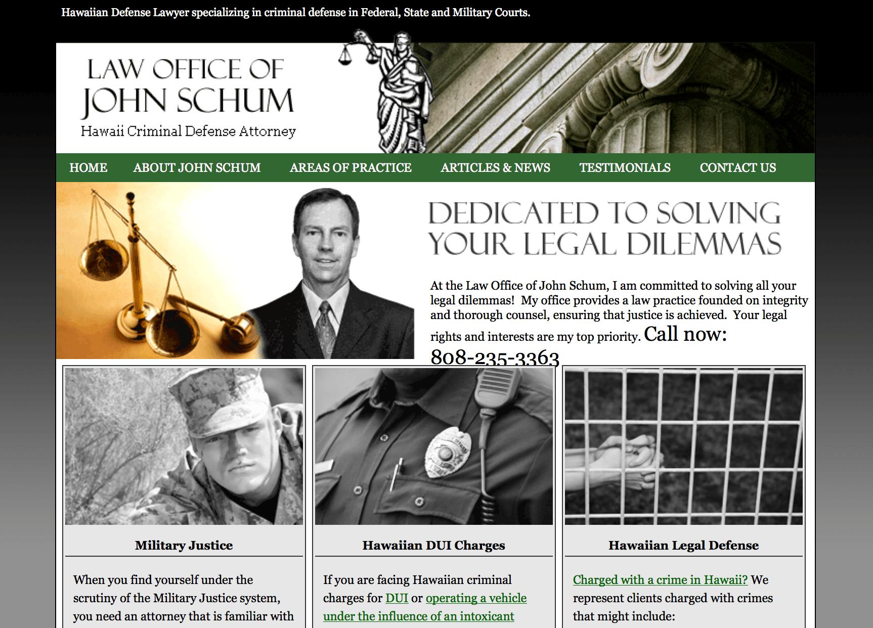 John Schum Law Website Design