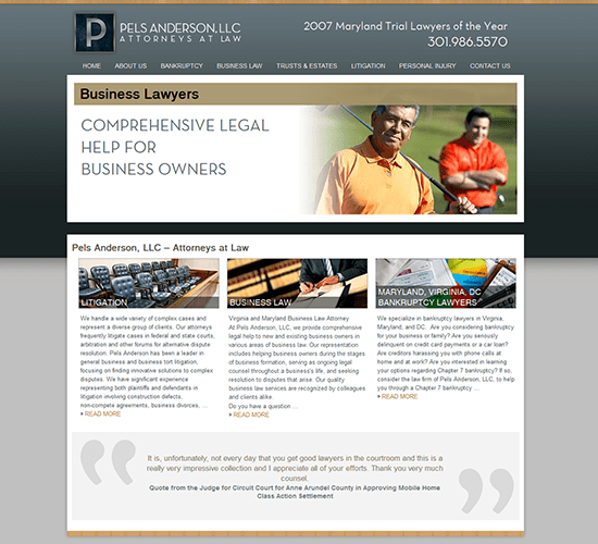 Pels Anderson Lawyers Website Design