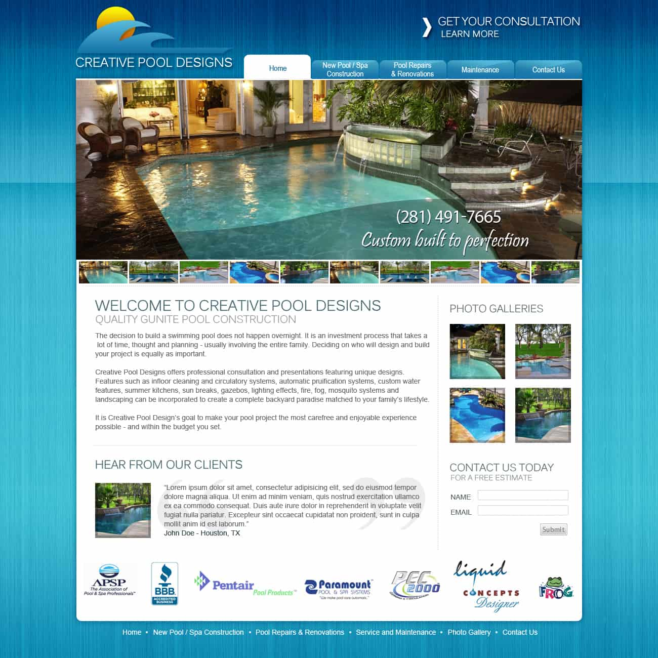 Pool website design internet marketing for Pool design website