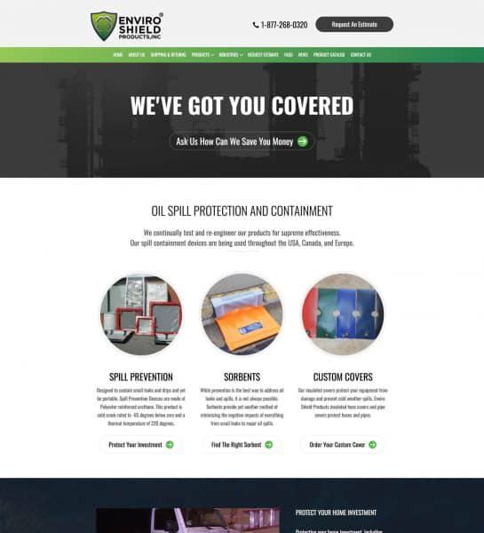 enviroshield products - oil gas web design