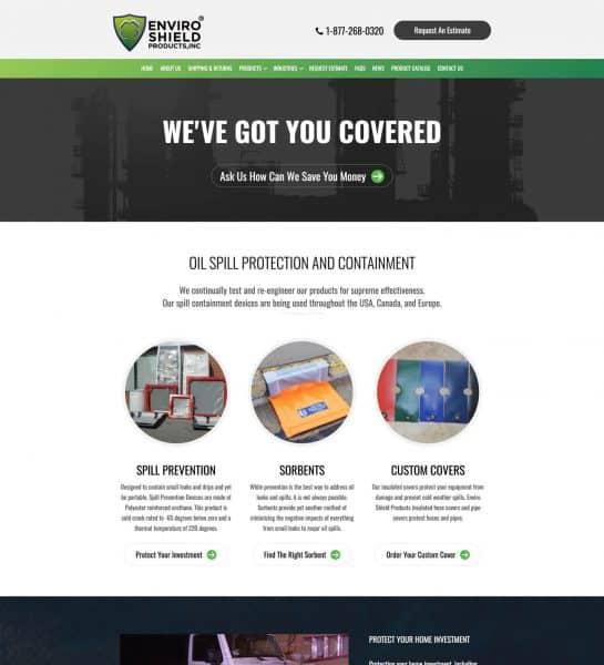 enviroshield products - oil gas web design