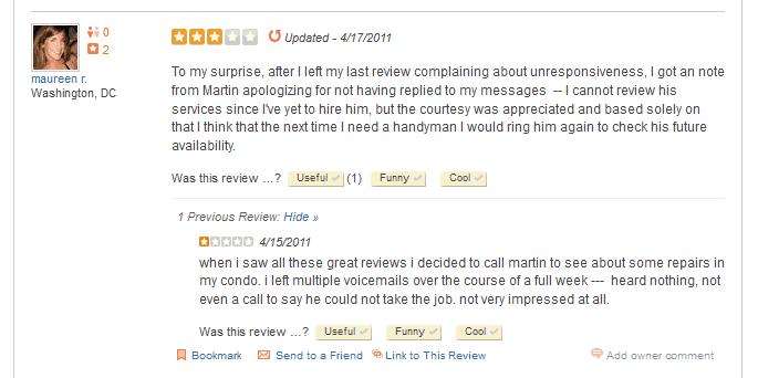 Example of a Good Comment to a Bad Review