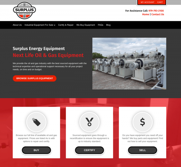 oil gas website design and ecommerce