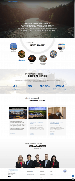water standard homepage design