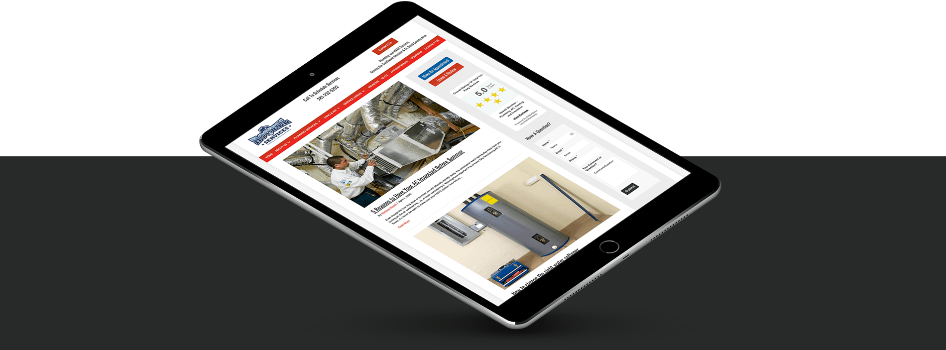 plumber mobile web design
