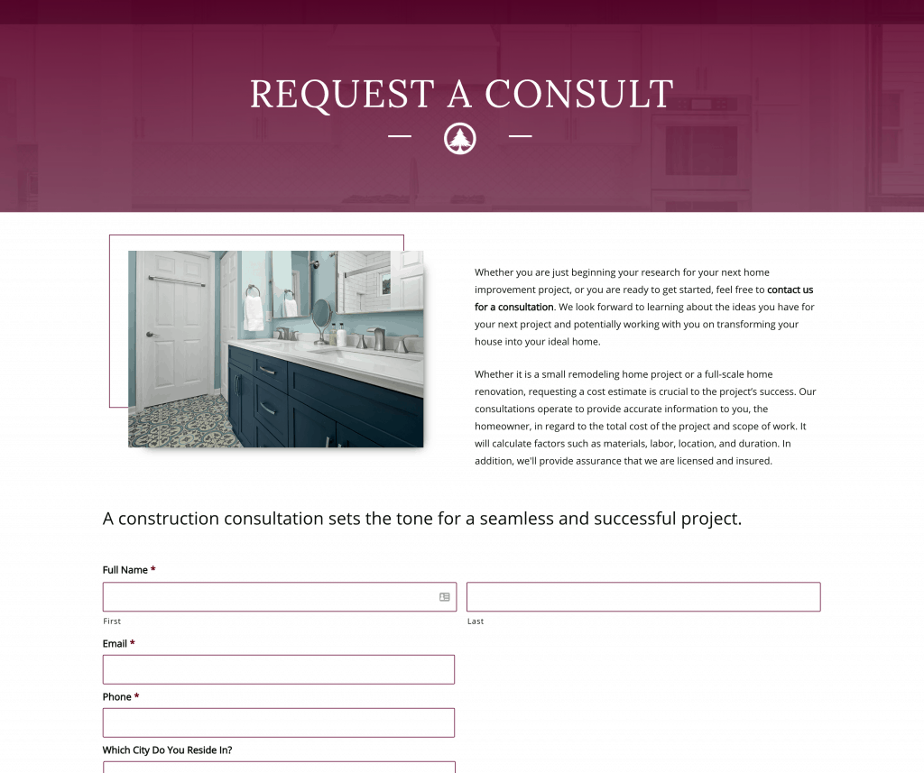 construction website content example