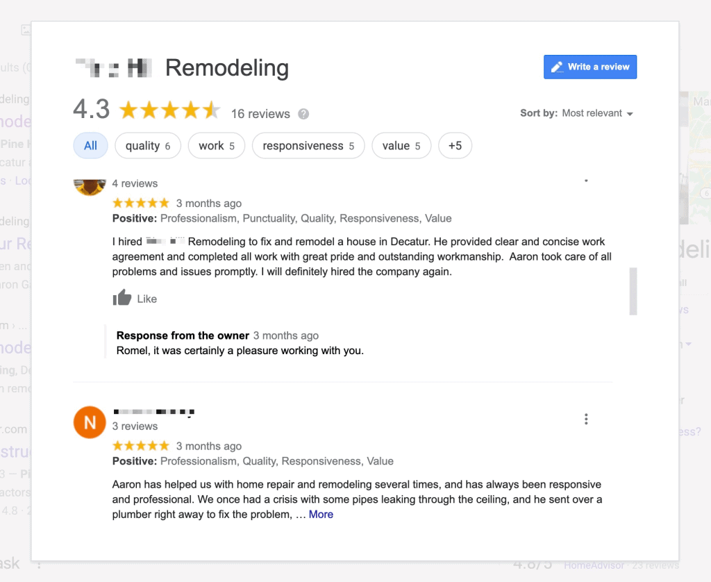 construction reviews