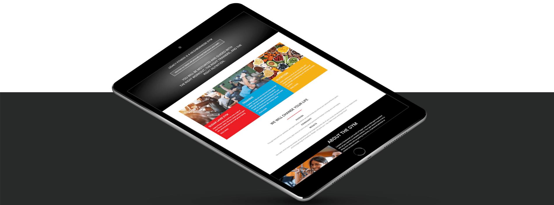 fitness web design mobile
